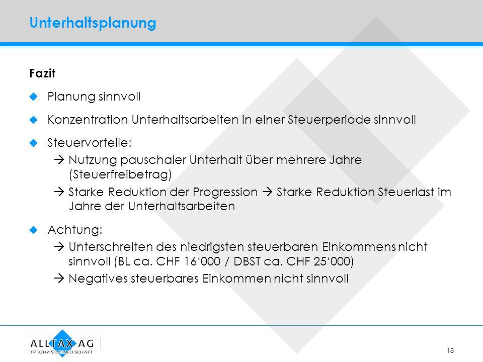 Unterhaltsplanung Fazit Planung sinnvoll