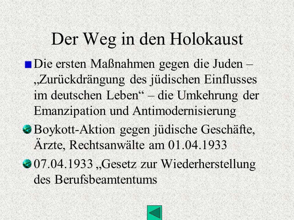 Der Weg in den Holokaust