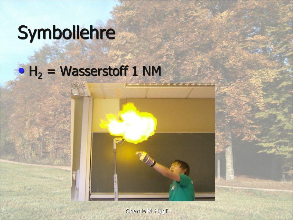 Symbollehre H2 = Wasserstoff 1 NM Chemie M. Hügli