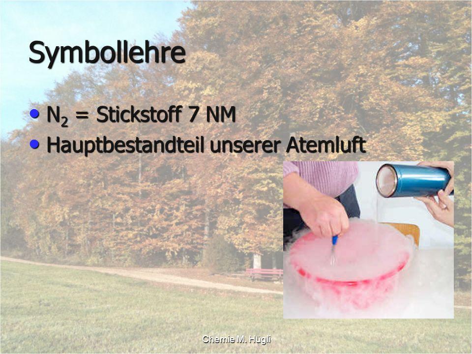 Symbollehre N2 = Stickstoff 7 NM Hauptbestandteil unserer Atemluft