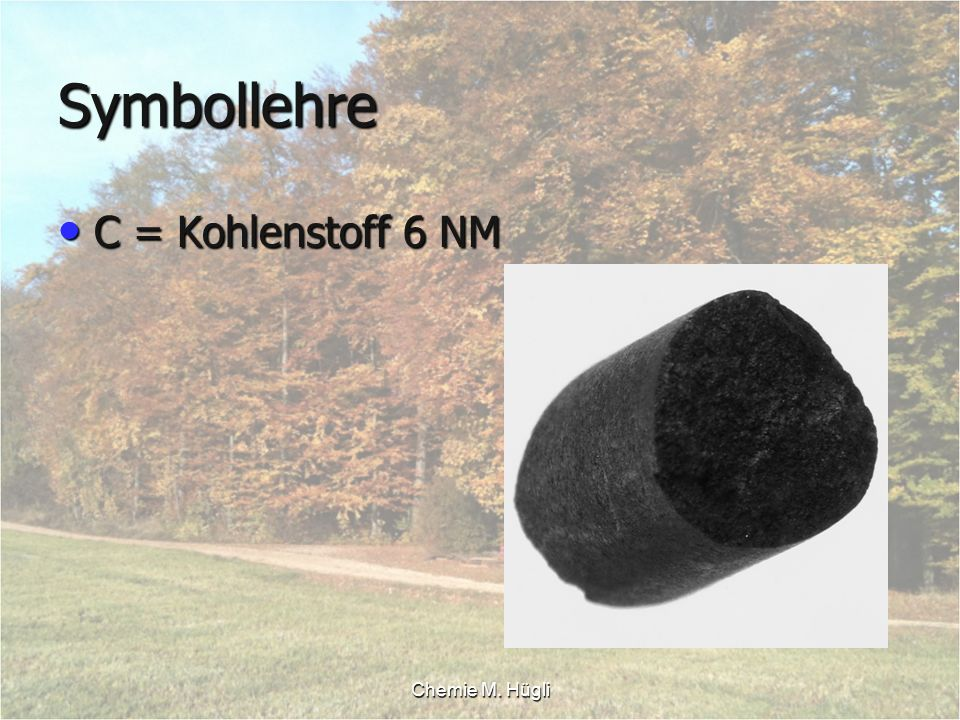 Symbollehre C = Kohlenstoff 6 NM Chemie M. Hügli