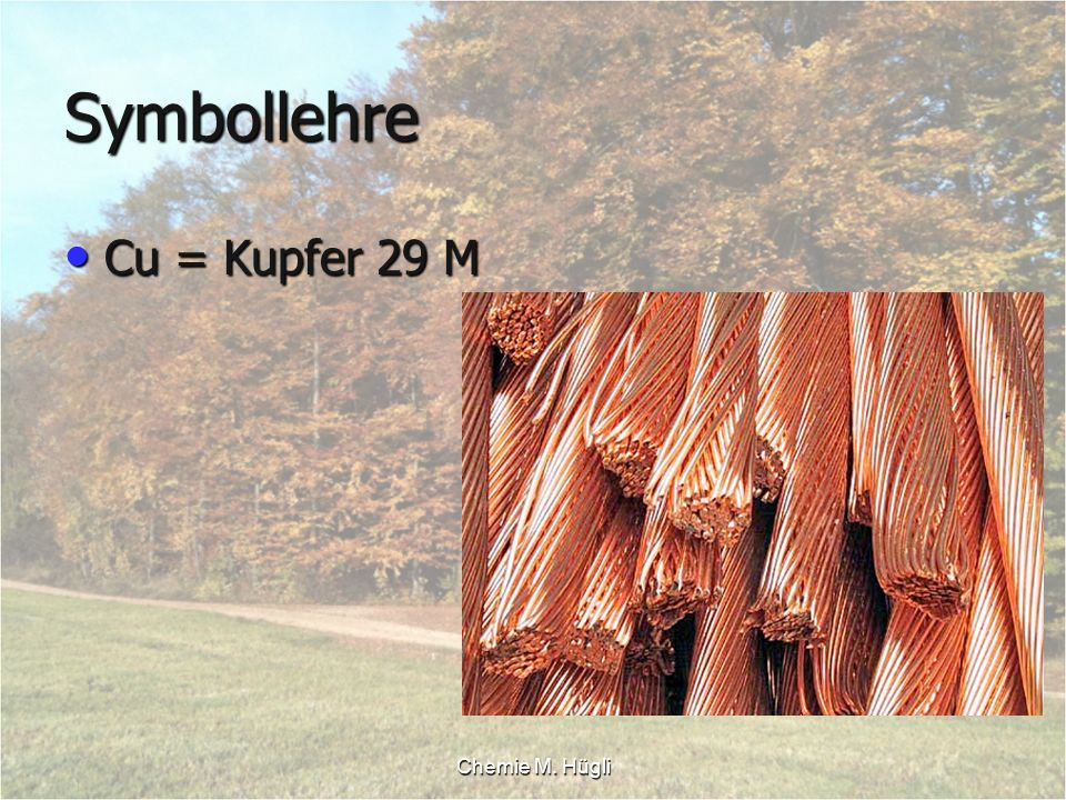 Symbollehre Cu = Kupfer 29 M Chemie M. Hügli