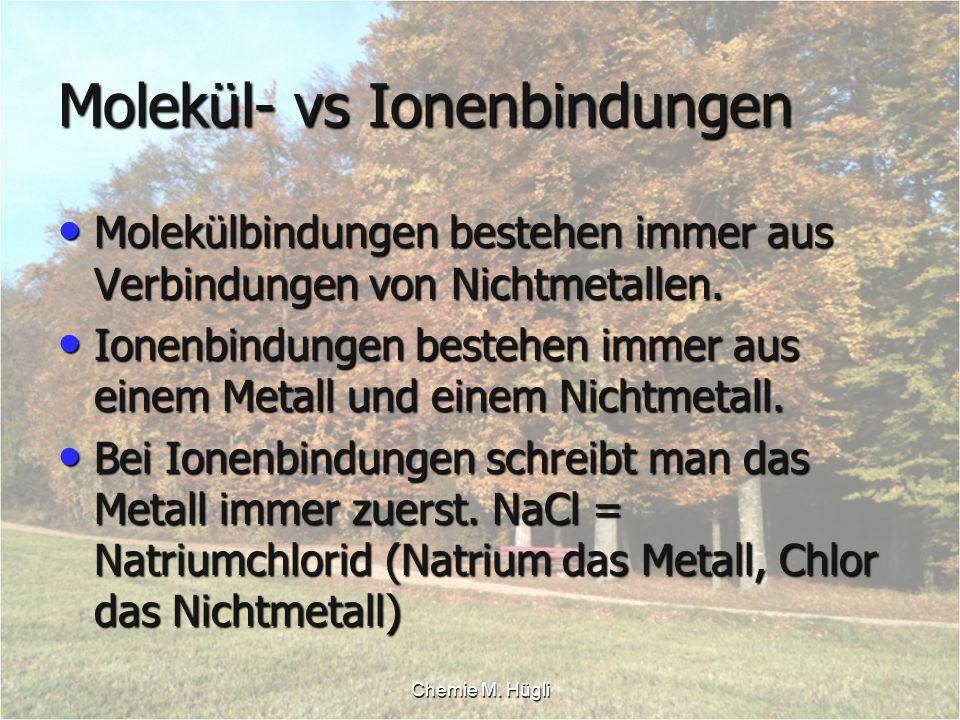 Molekül- vs Ionenbindungen