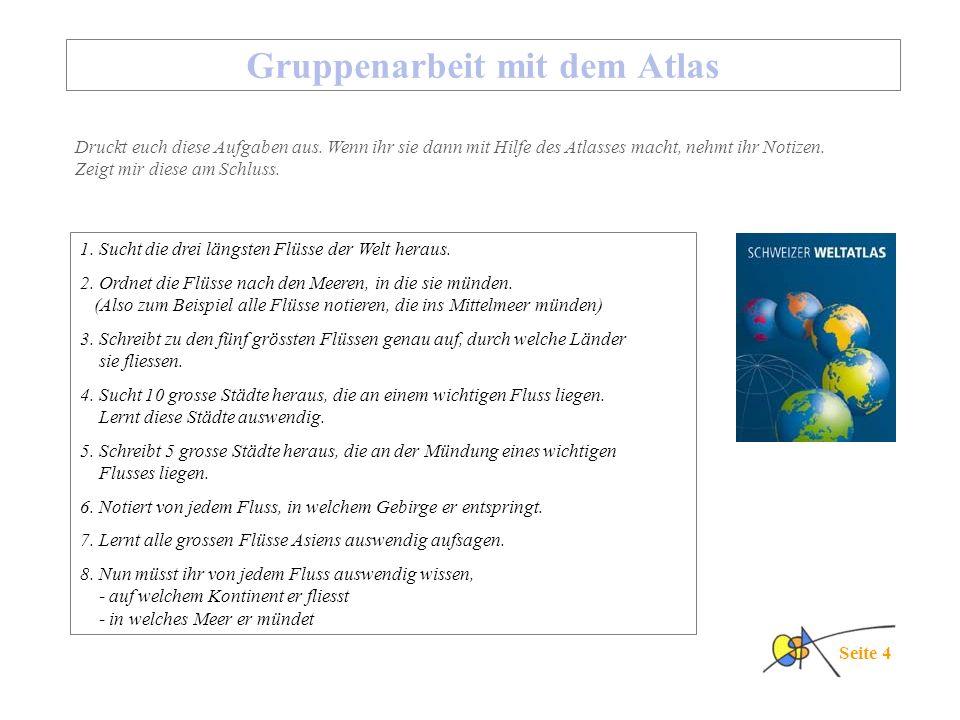 Gruppenarbeit mit dem Atlas