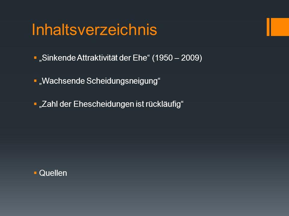 """Inhaltsverzeichnis """"Sinkende Attraktivität der Ehe (1950 – 2009)"""