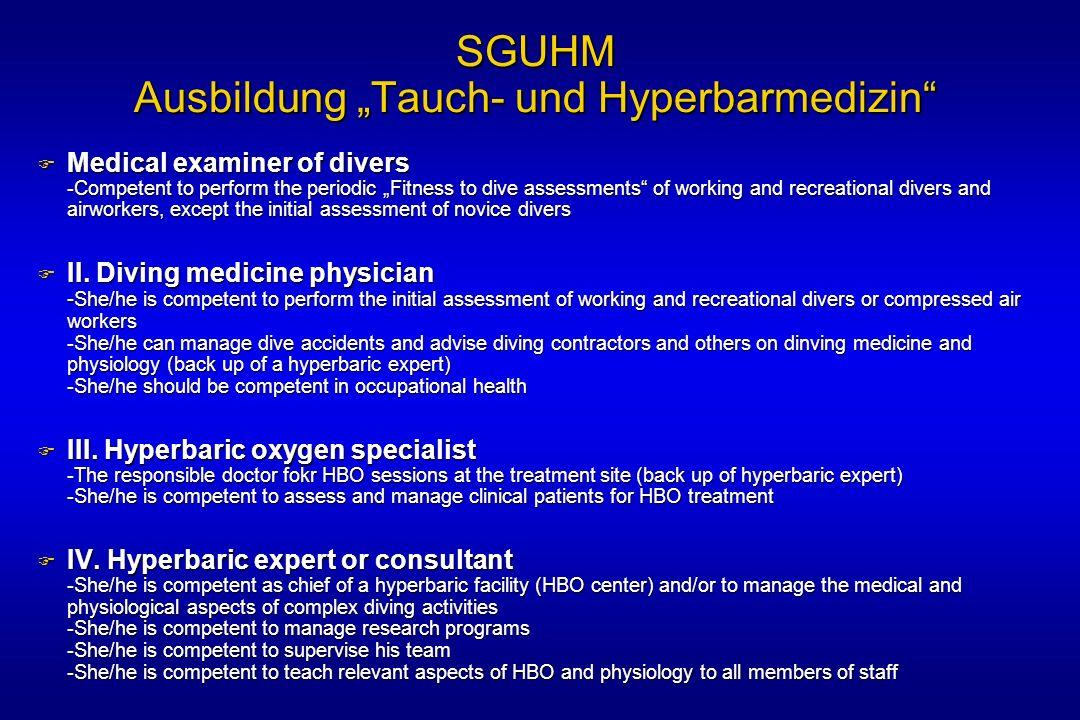 """SGUHM Ausbildung """"Tauch- und Hyperbarmedizin"""