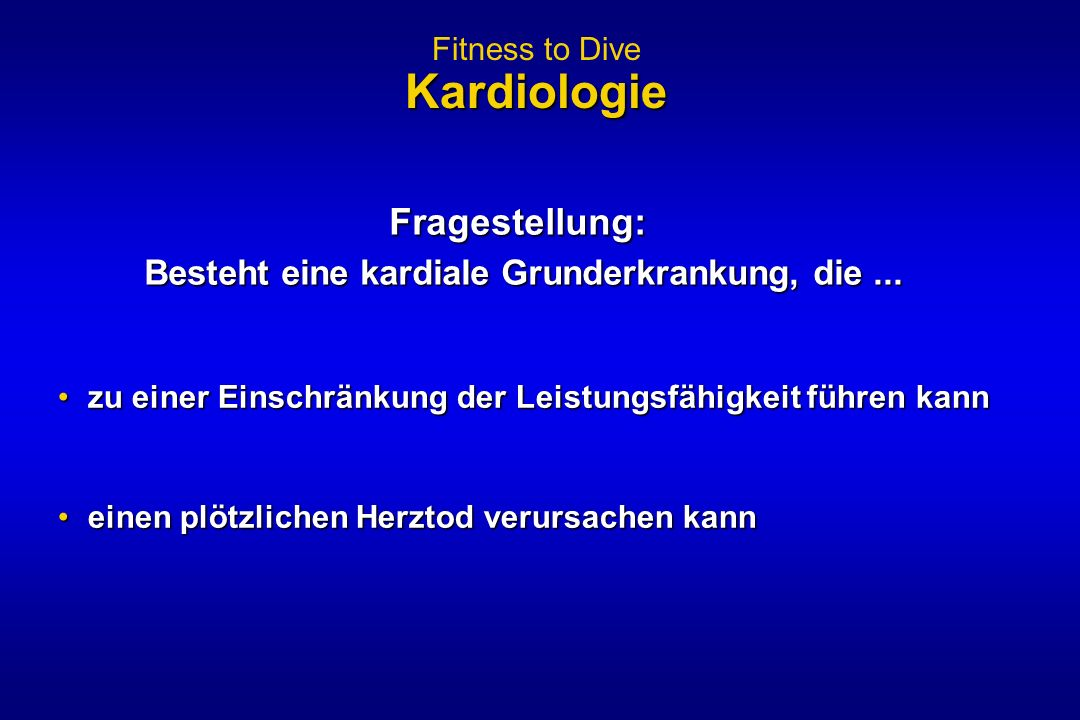 Fitness to Dive Kardiologie