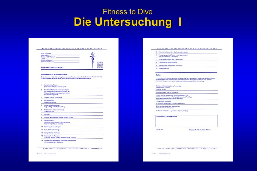 Fitness to Dive Die Untersuchung I