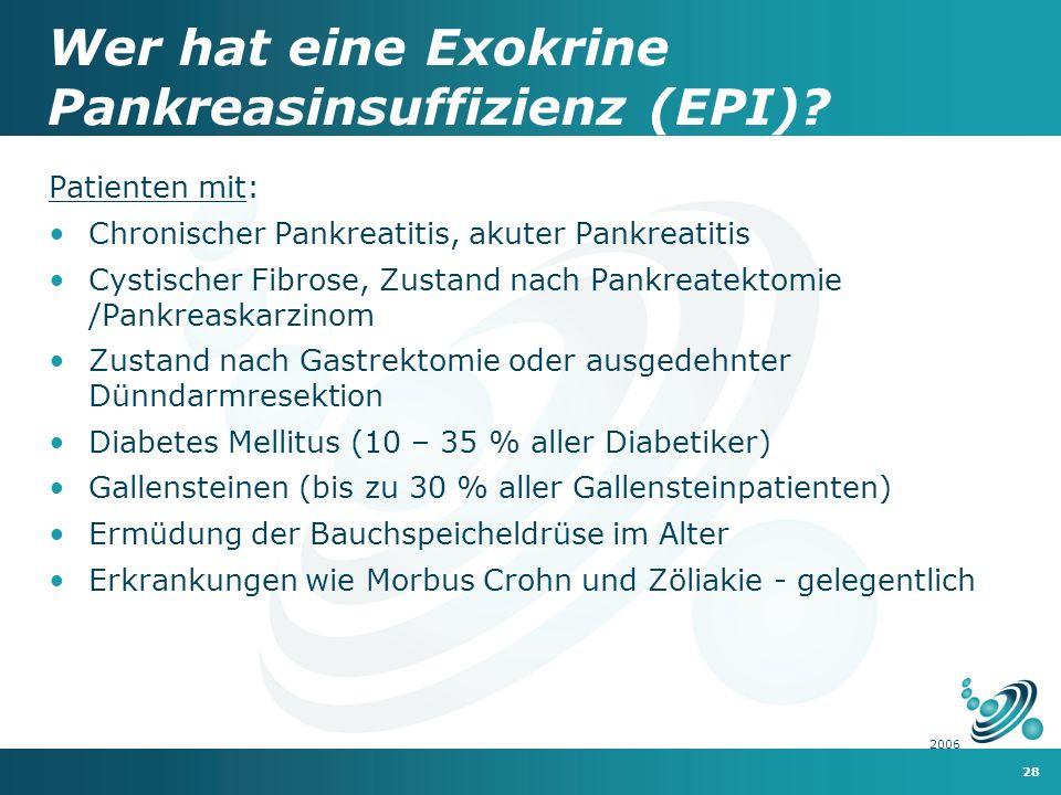 Wer hat eine Exokrine Pankreasinsuffizienz (EPI)