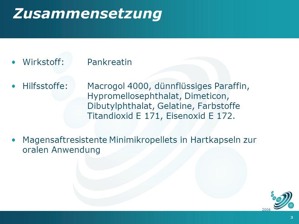 Zusammensetzung Wirkstoff: Pankreatin