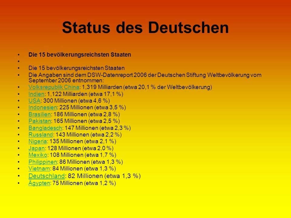 Status des Deutschen Deutschland: 82 Millionen (etwa 1,3 %)