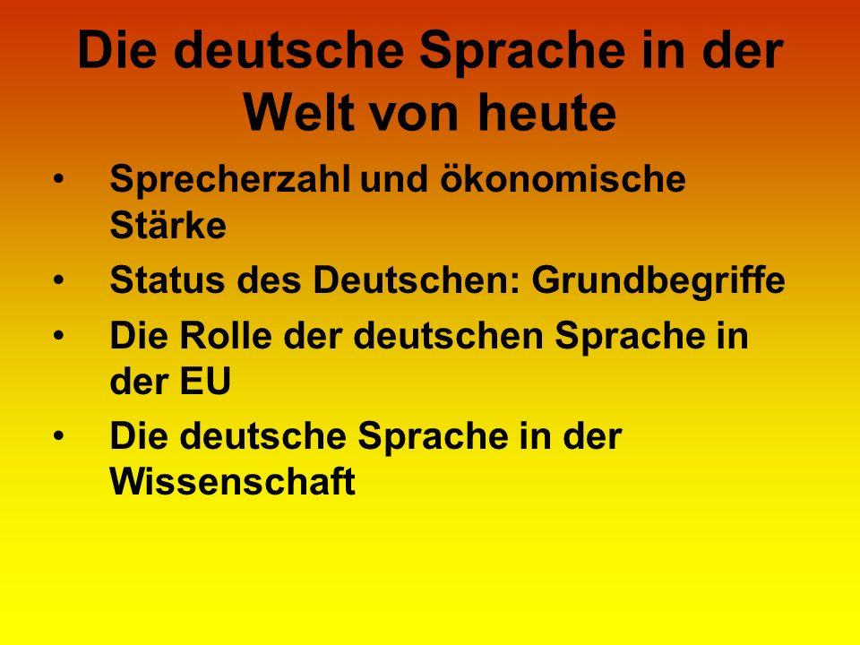 Die deutsche Sprache in der Welt von heute