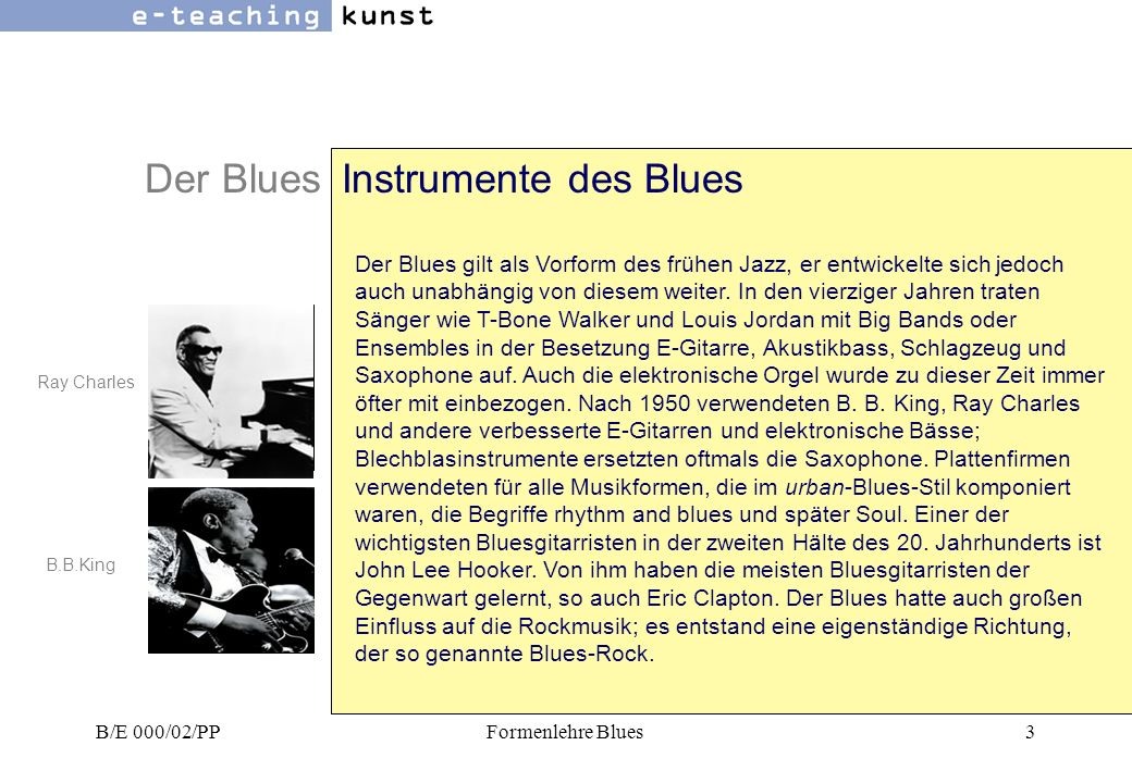 Der Blues Instrumente des Blues
