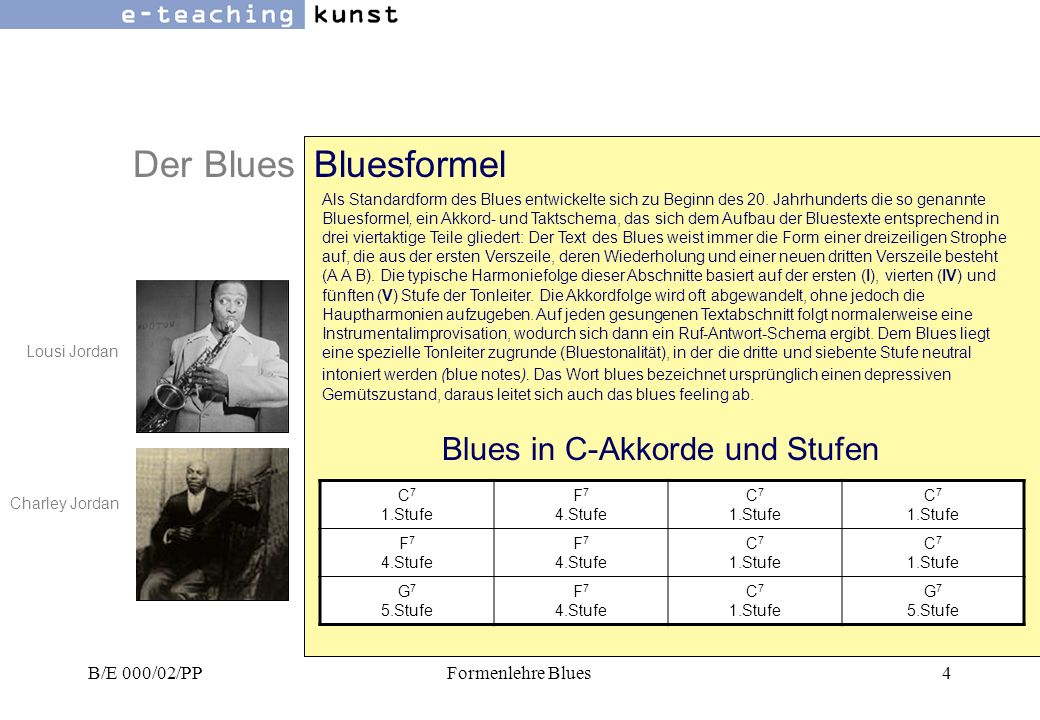 Der Blues Bluesformel Blues in C-Akkorde und Stufen B/E 000/02/PP