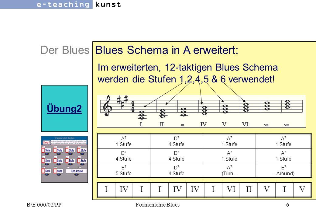 Blues Schema in A erweitert: