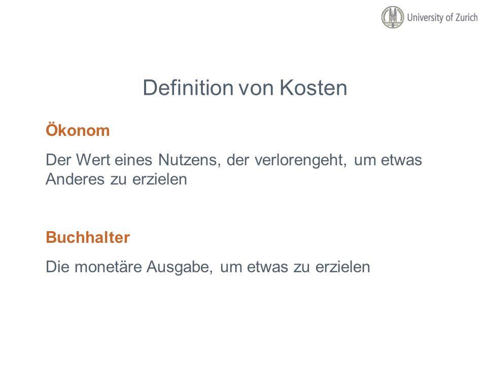 Definition von Kosten Ökonom