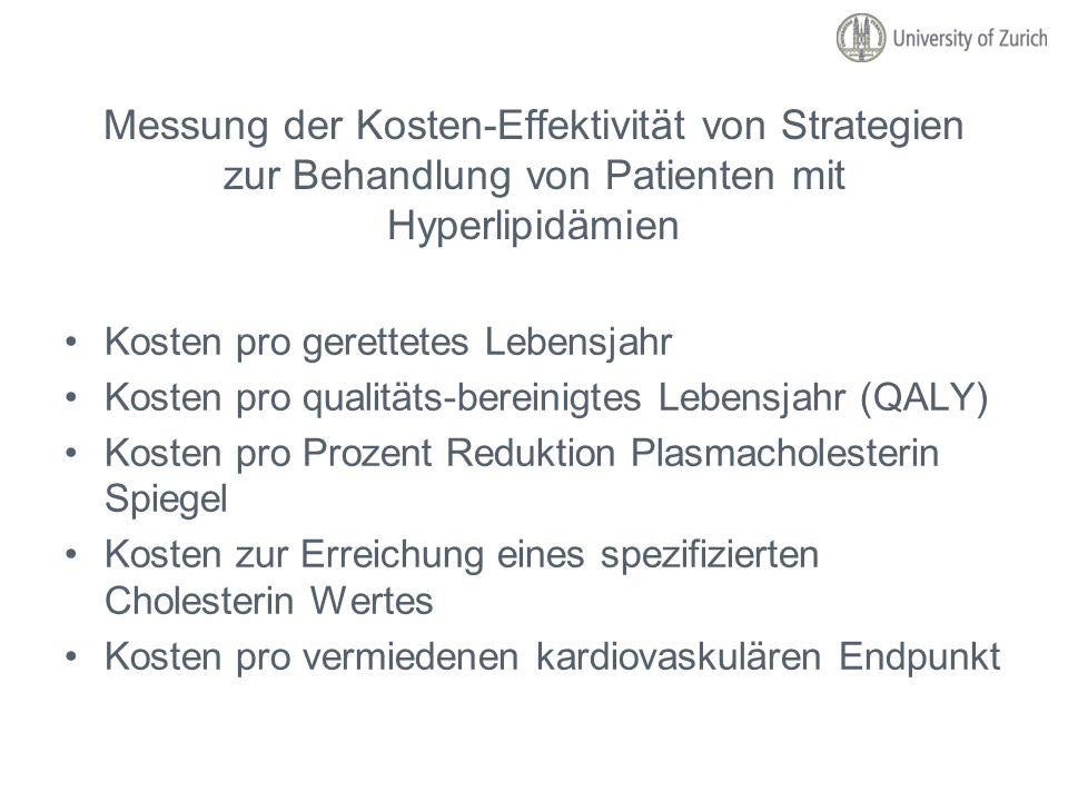 Messung der Kosten-Effektivität von Strategien zur Behandlung von Patienten mit Hyperlipidämien