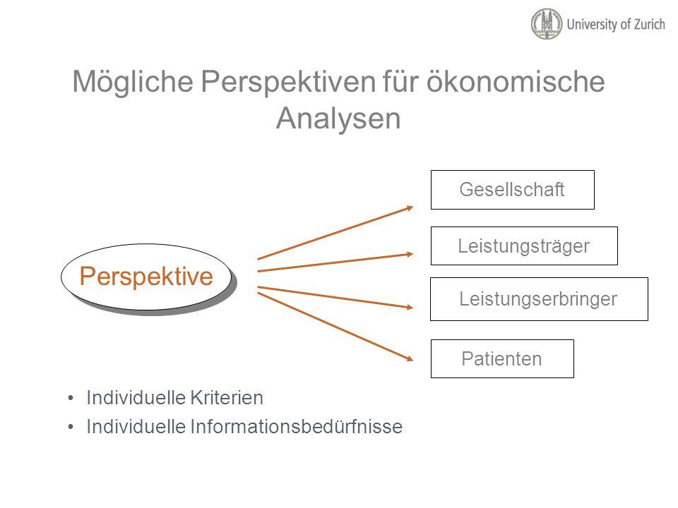 Mögliche Perspektiven für ökonomische Analysen