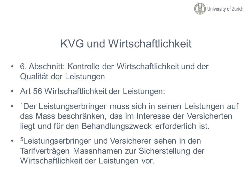 KVG und Wirtschaftlichkeit