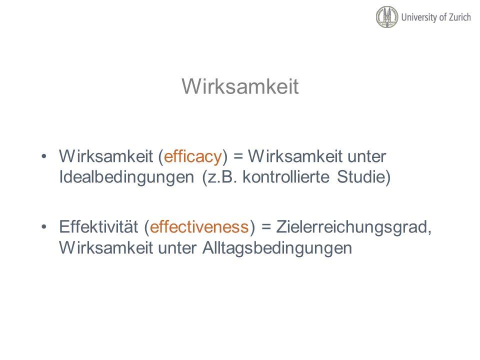 Wirksamkeit Wirksamkeit (efficacy) = Wirksamkeit unter Idealbedingungen (z.B. kontrollierte Studie)