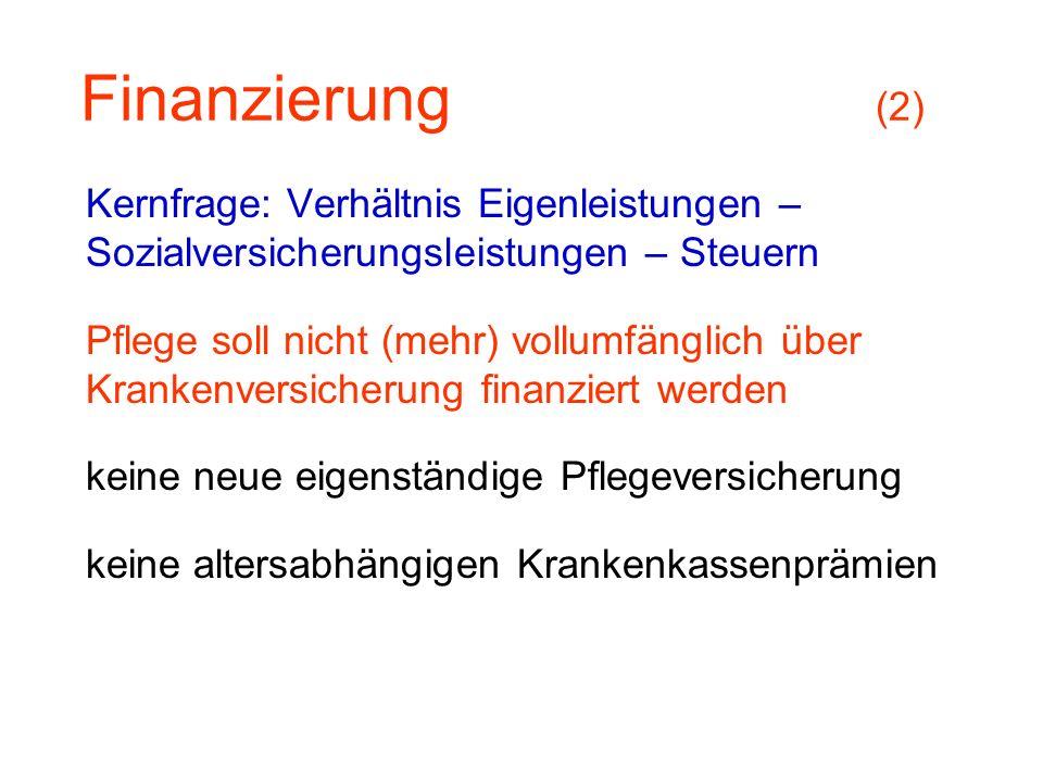 Finanzierung (2) Kernfrage: Verhältnis Eigenleistungen –