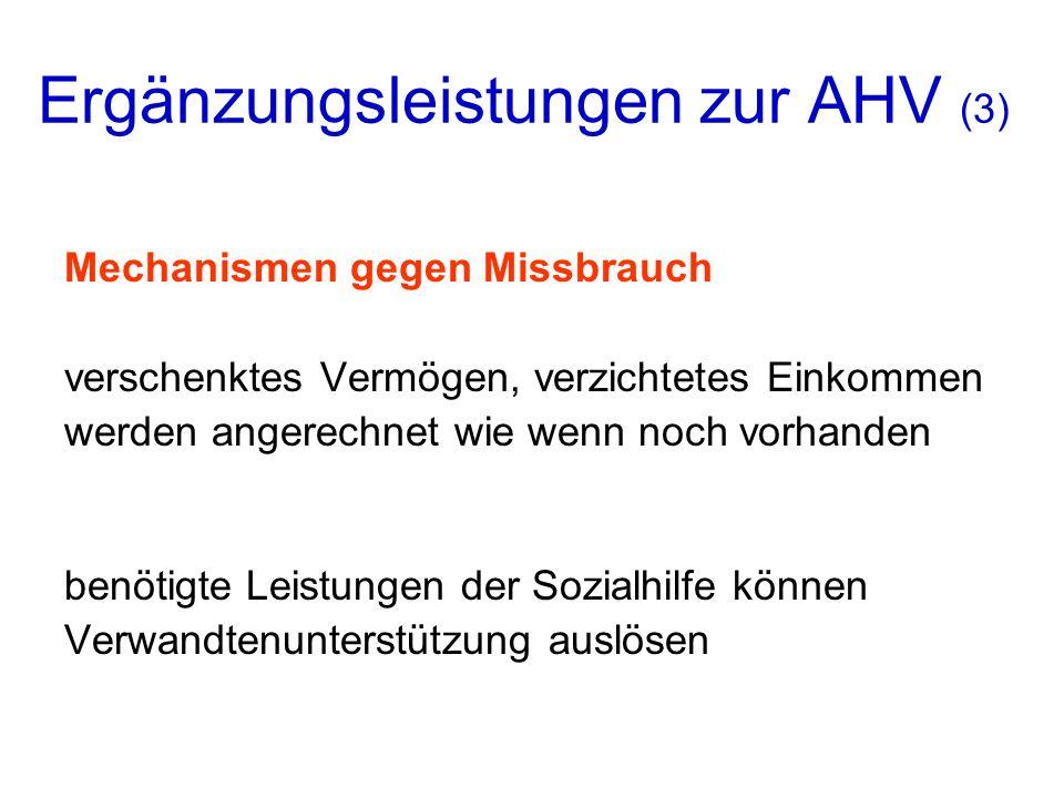 Ergänzungsleistungen zur AHV (3)