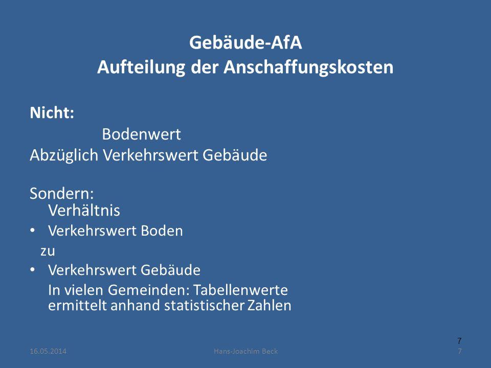 Gebäude-AfA Aufteilung der Anschaffungskosten