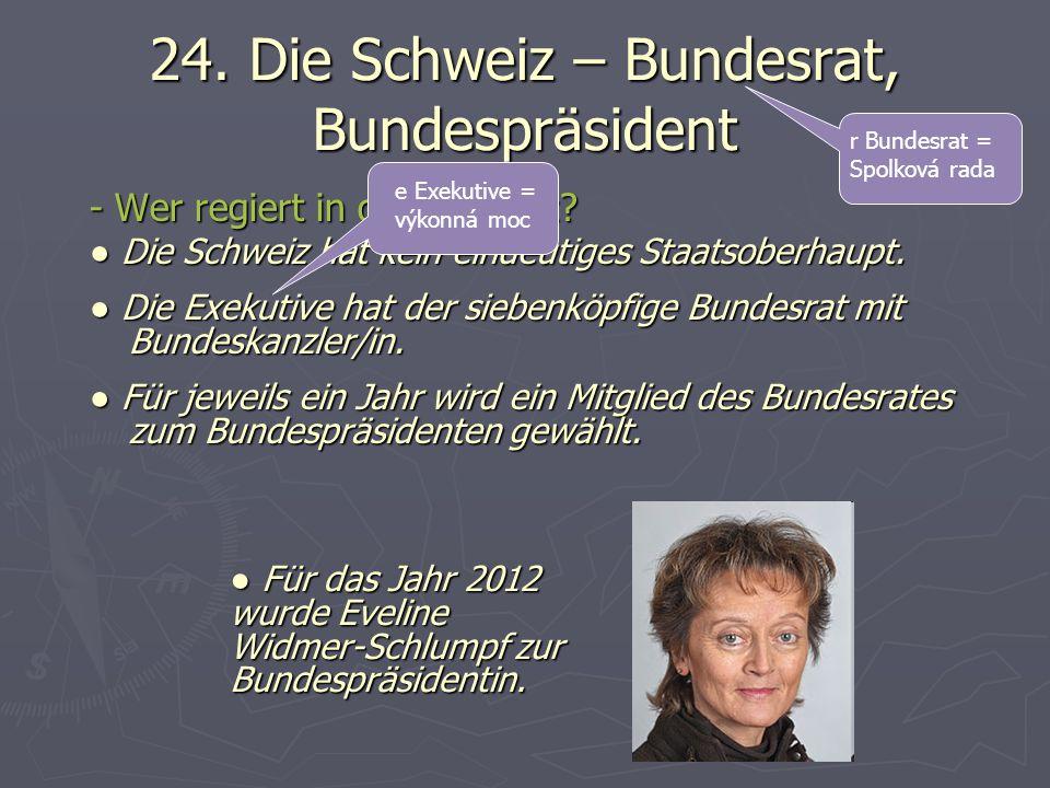 24. Die Schweiz – Bundesrat, Bundespräsident