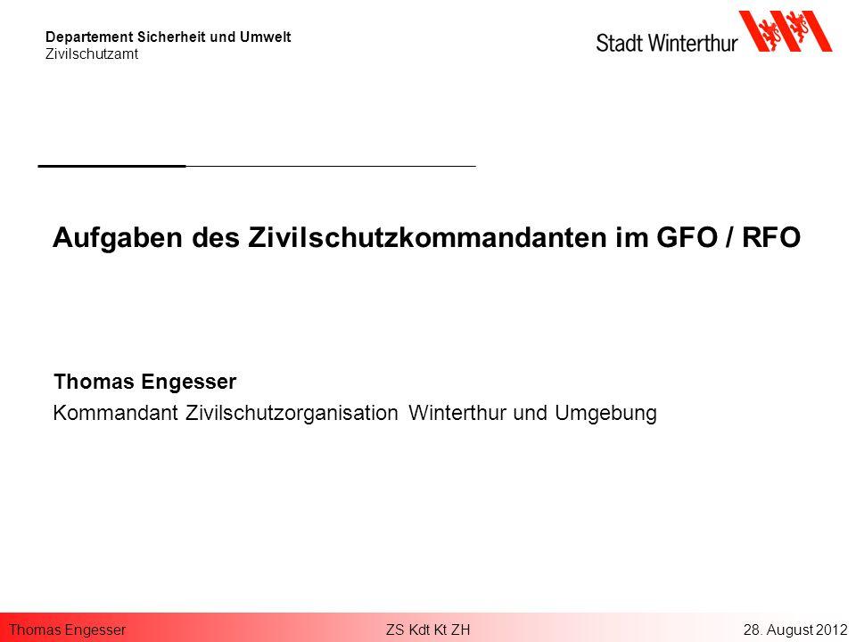 Aufgaben des Zivilschutzkommandanten im GFO / RFO