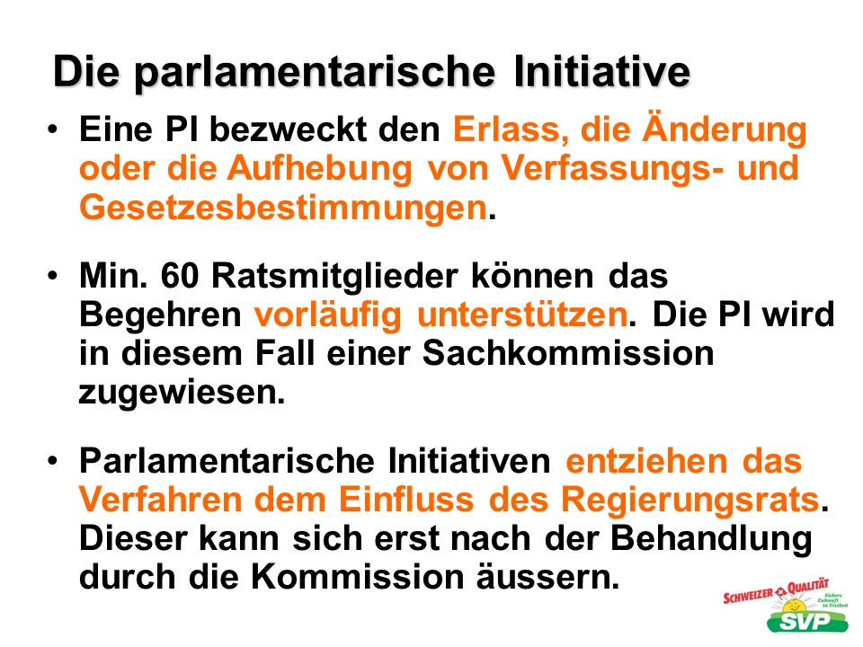 Die parlamentarische Initiative