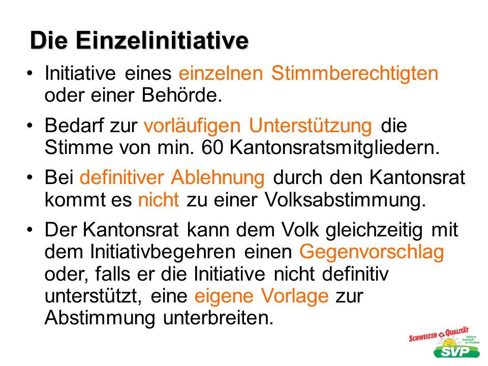 Die Einzelinitiative Initiative eines einzelnen Stimmberechtigten oder einer Behörde.