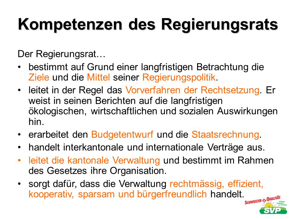 Kompetenzen des Regierungsrats
