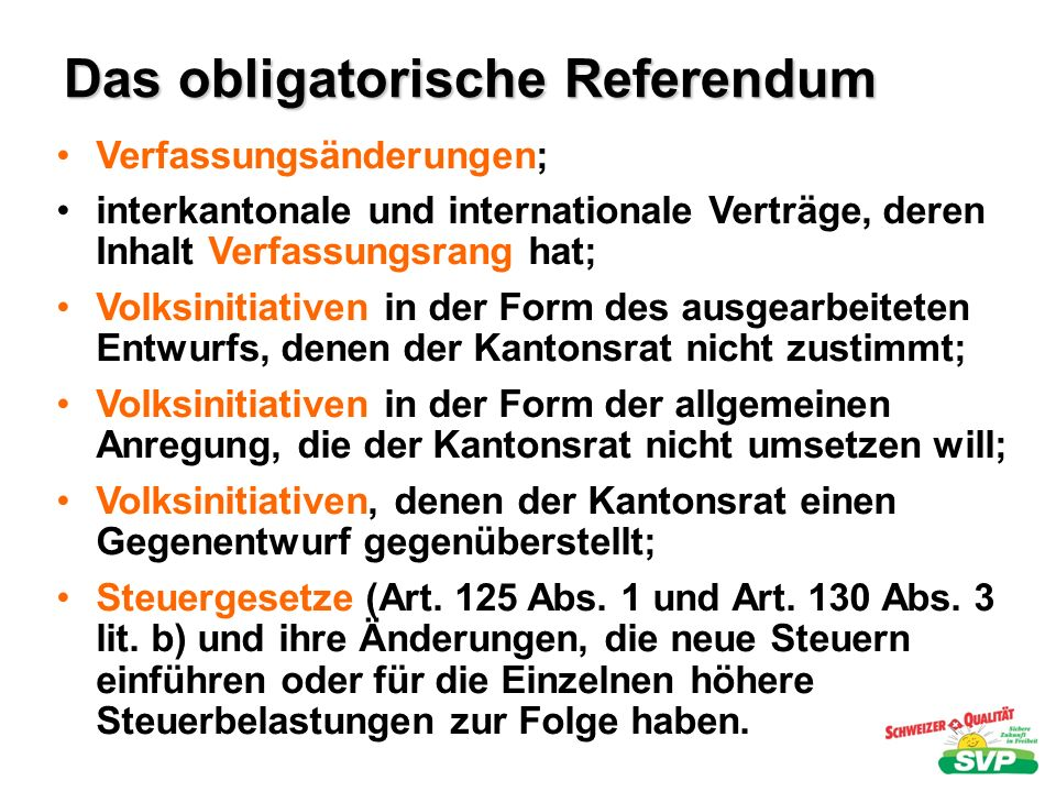 Das obligatorische Referendum