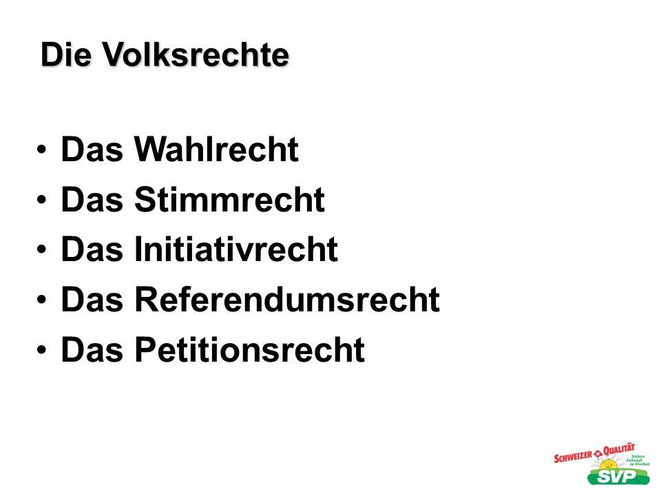 Das Wahlrecht Das Stimmrecht Das Initiativrecht Das Referendumsrecht