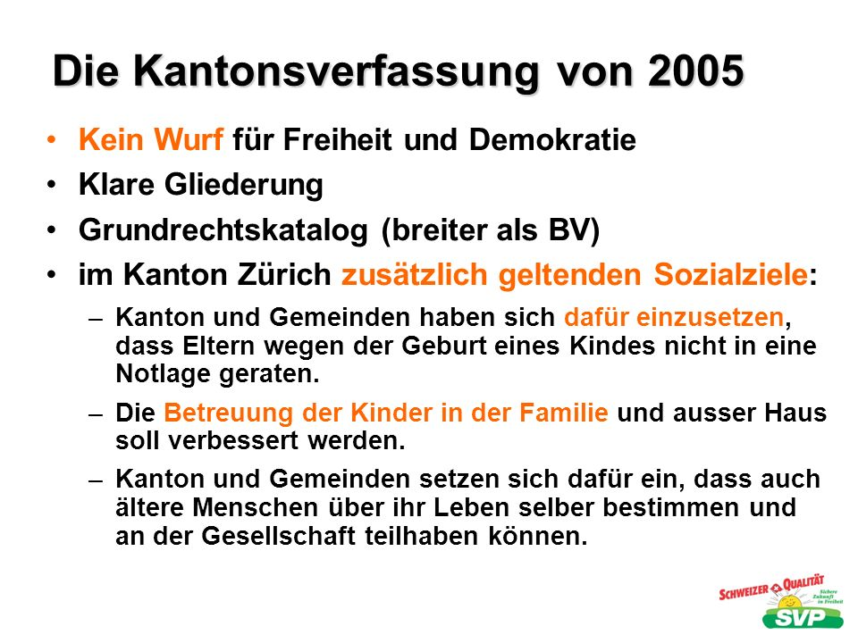 Die Kantonsverfassung von 2005