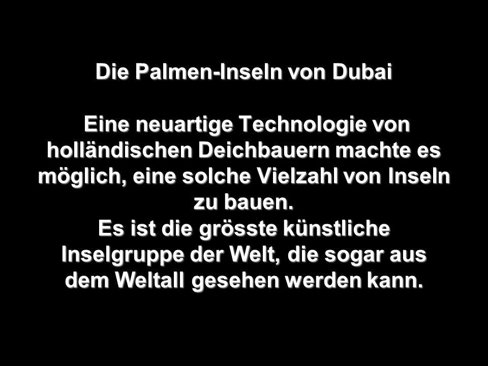 Die Palmen-Inseln von Dubai Eine neuartige Technologie von holländischen Deichbauern machte es möglich, eine solche Vielzahl von Inseln zu bauen.