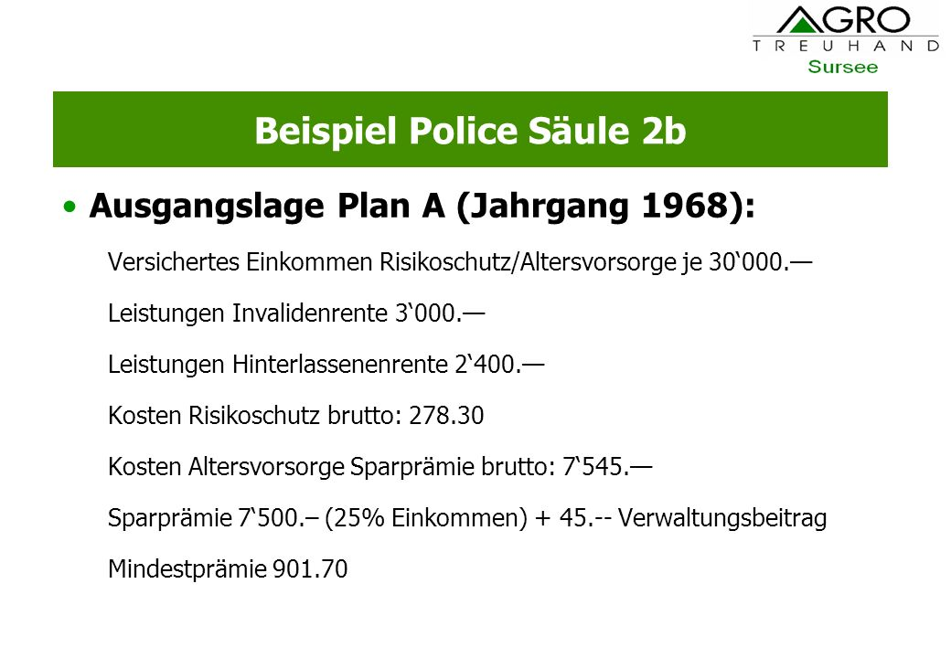 Beispiel Police Säule 2b
