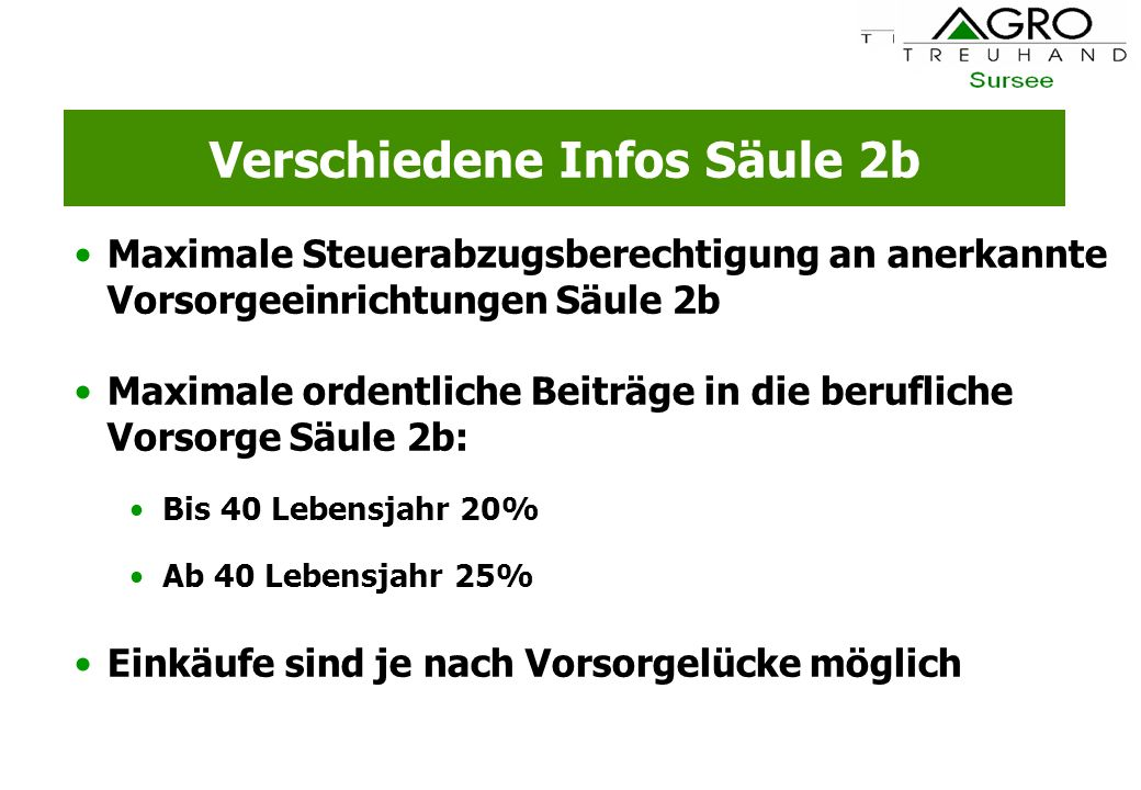 Verschiedene Infos Säule 2b