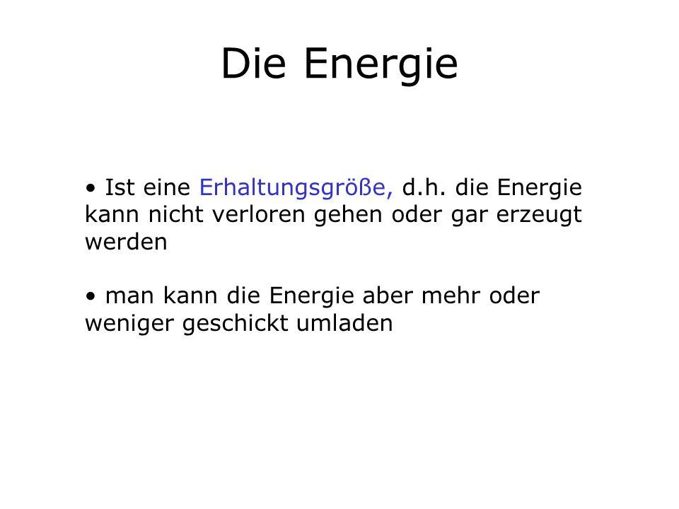 Die Energie Ist eine Erhaltungsgröße, d.h. die Energie