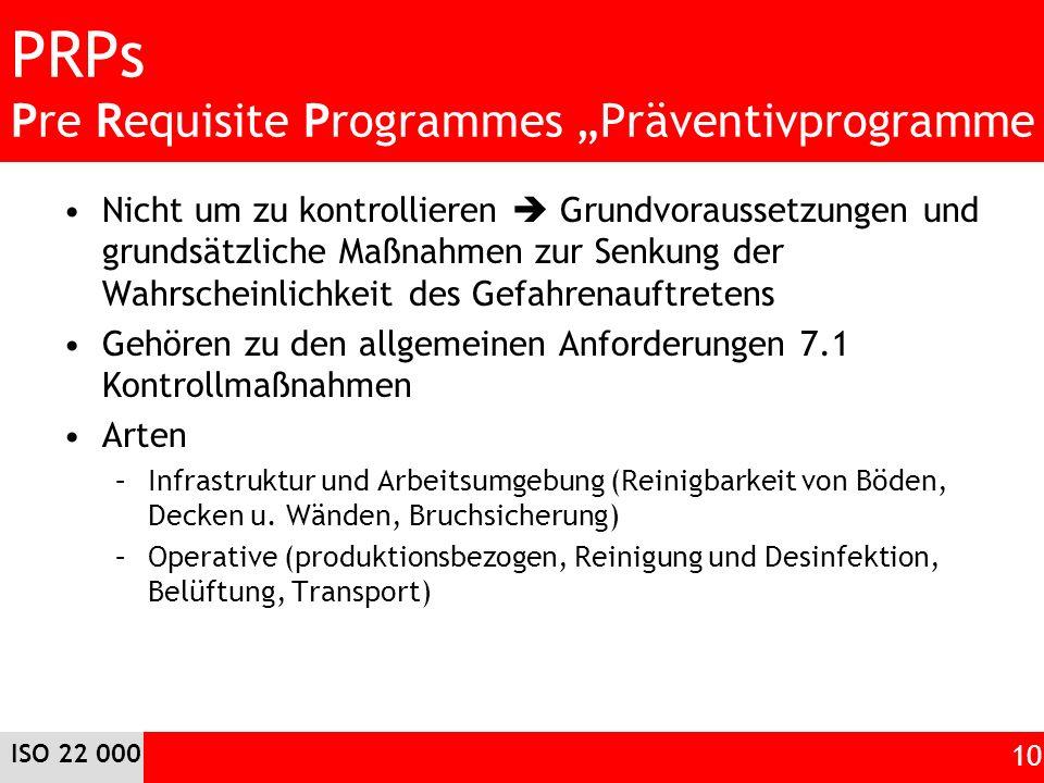 "PRPs Pre Requisite Programmes ""Präventivprogramme"