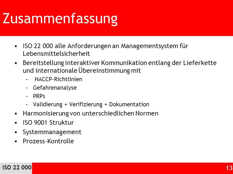 Zusammenfassung ISO 22 000 alle Anforderungen an Managementsystem für Lebensmittelsicherheit.