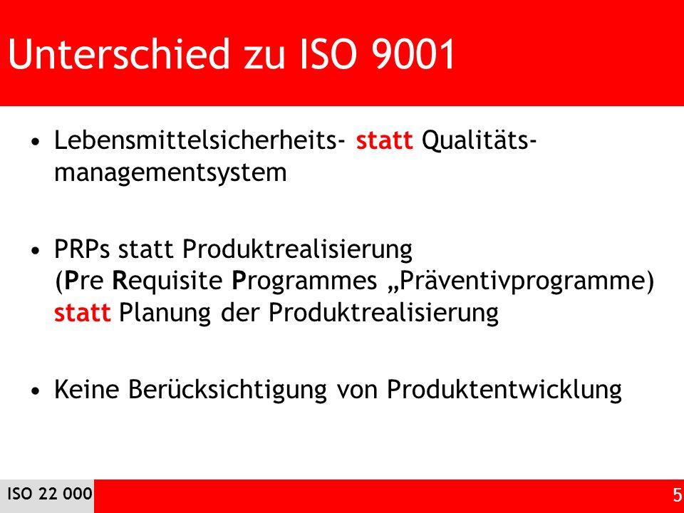 Unterschied zu ISO 9001 Lebensmittelsicherheits- statt Qualitäts-managementsystem.