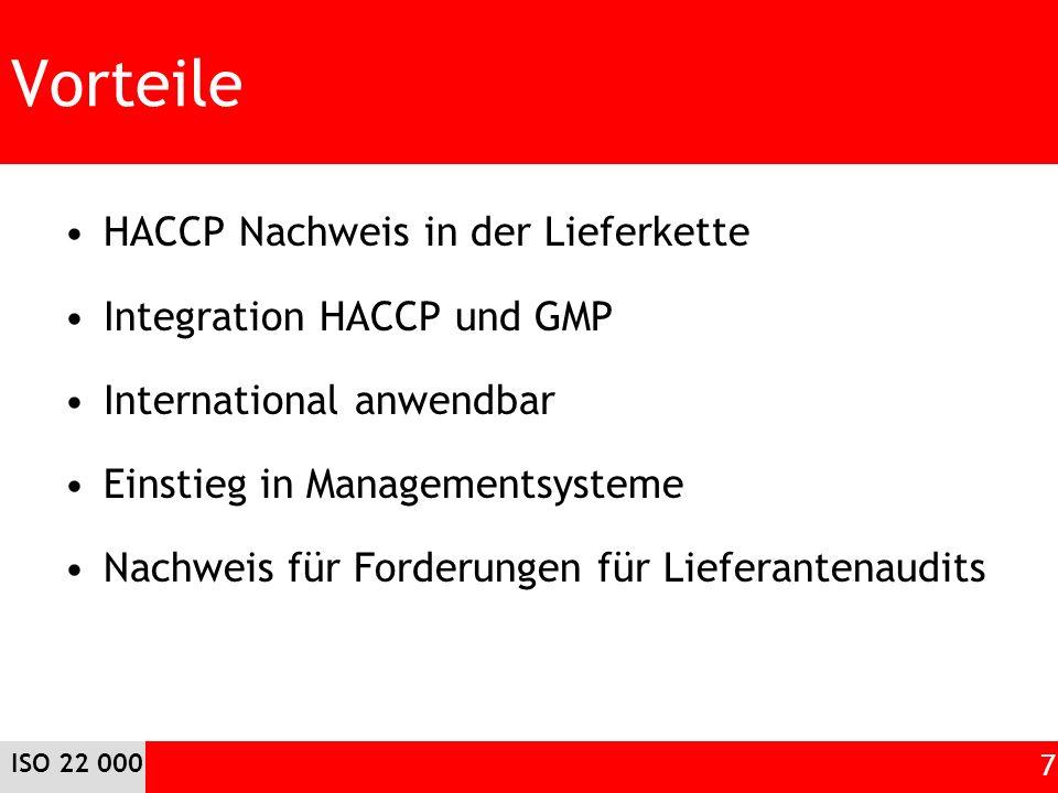 Vorteile HACCP Nachweis in der Lieferkette Integration HACCP und GMP