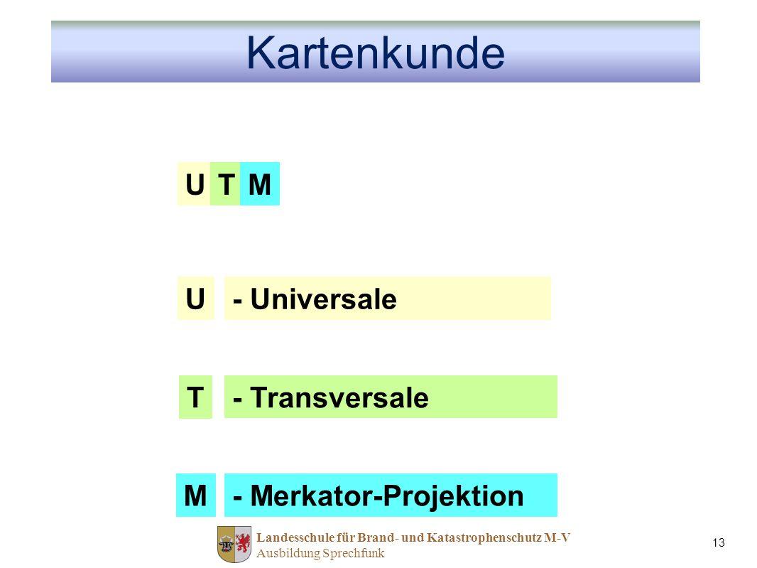 Kartenkunde U T M U - Universale T - Transversale M
