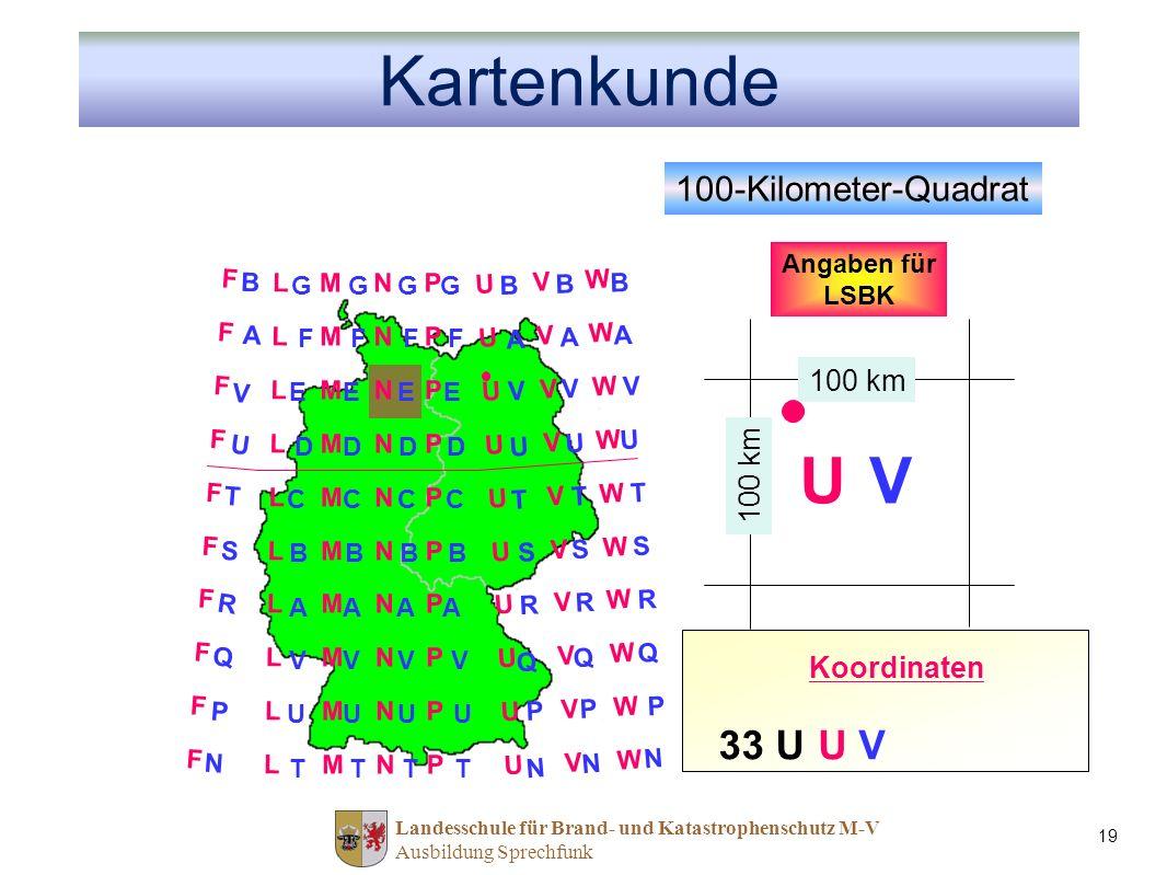 Kartenkunde U V 33 U U V 100-Kilometer-Quadrat Nord-Wert Ost-Wert