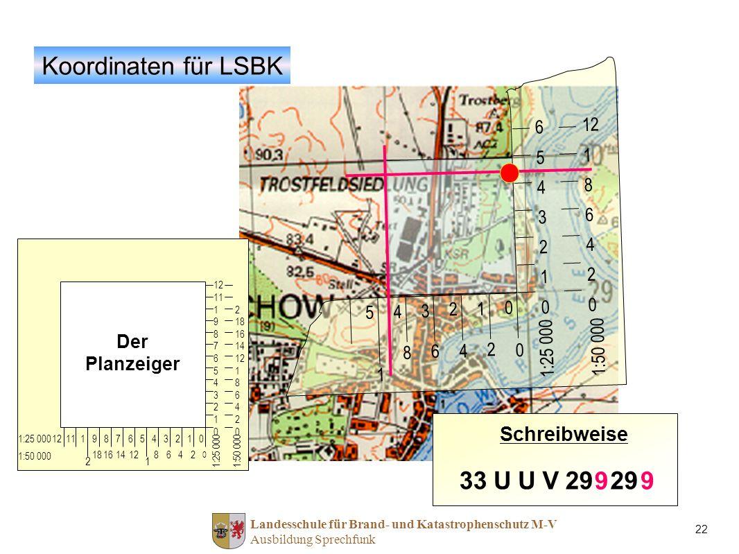 Koordinaten für LSBK 33 U V 29 9 9 Schreibweise 12 6 5 8 4 3 2 1