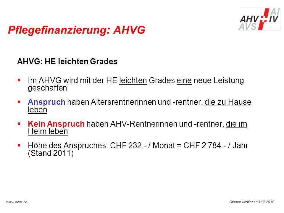 Pflegefinanzierung: AHVG