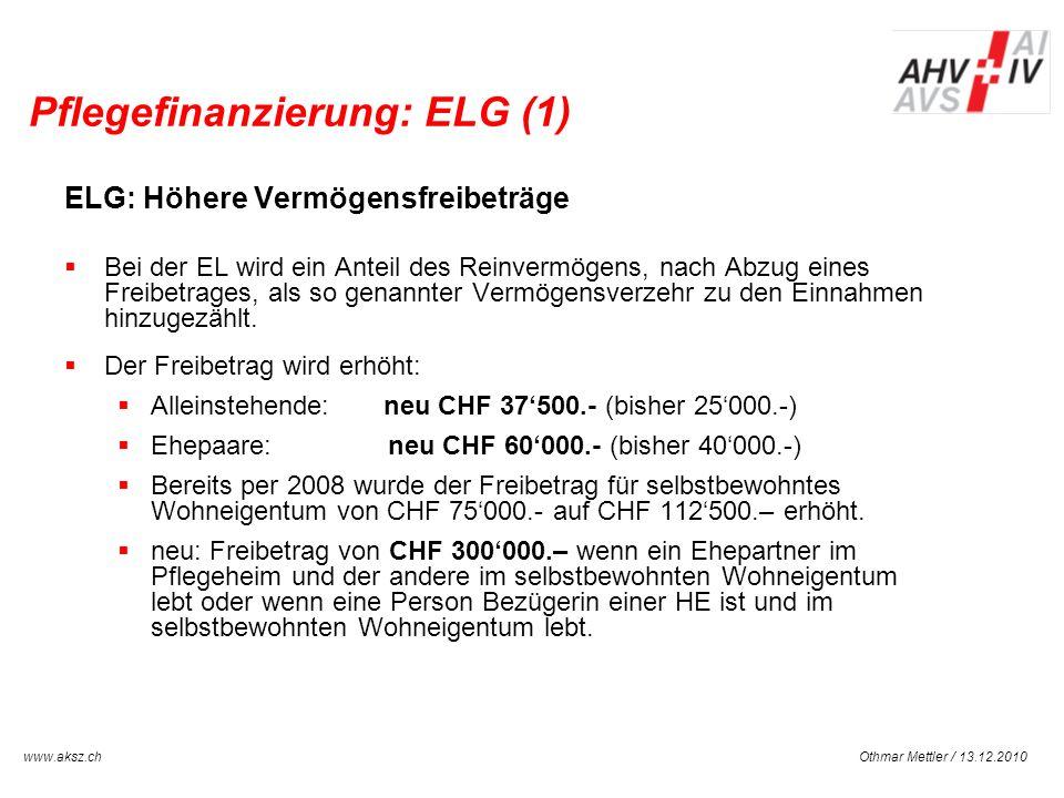 Pflegefinanzierung: ELG (1)