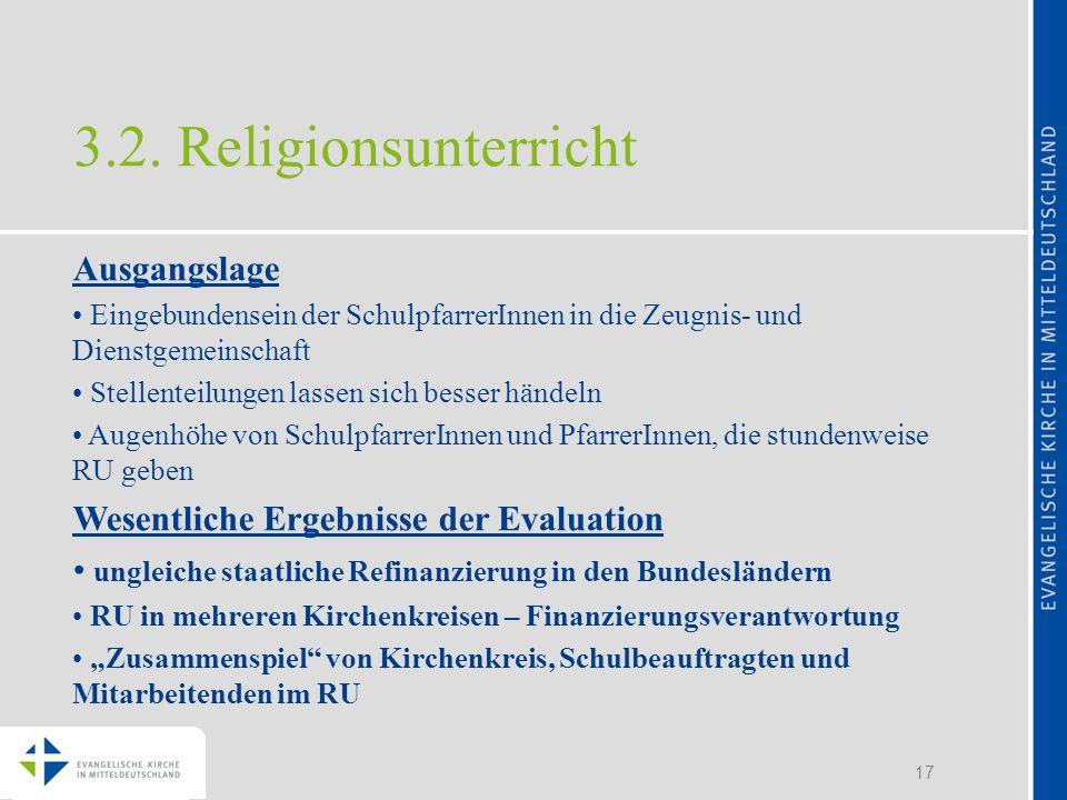 3.2. Religionsunterricht Ausgangslage