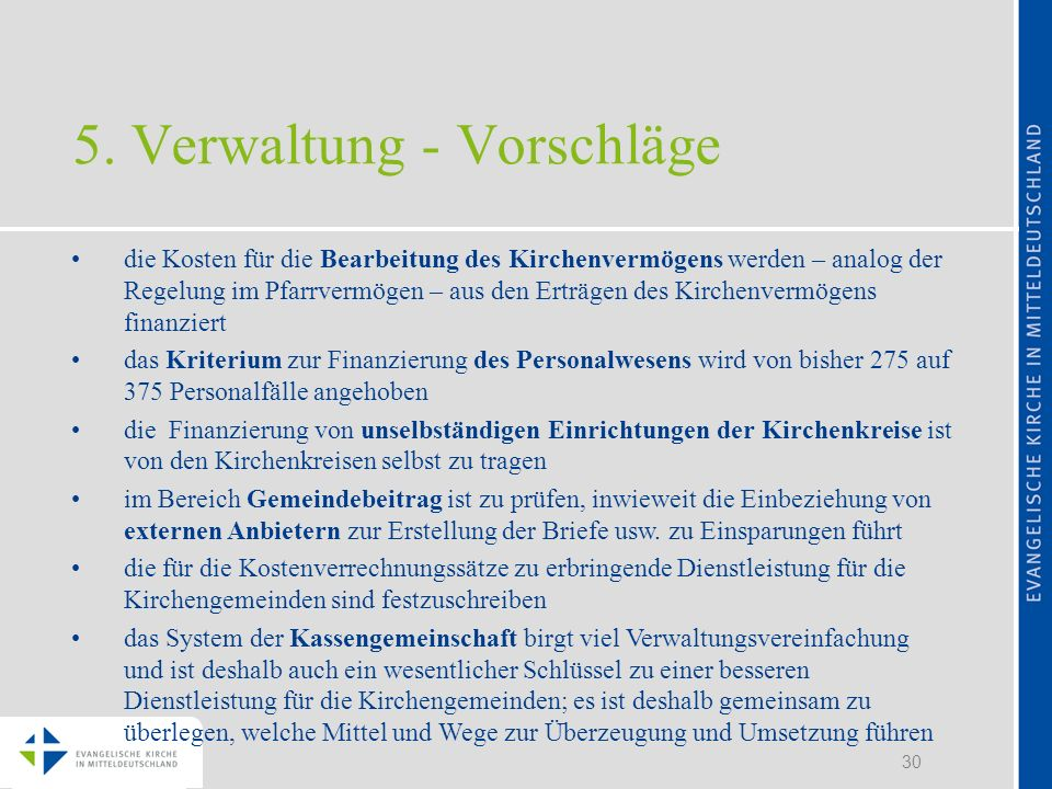 5. Verwaltung - Vorschläge